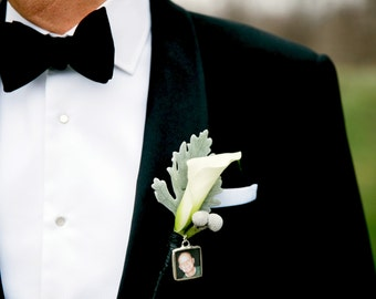 Boutonniere Charm Lapel Pin Boutonniere Memorial Charm Custom Photo Keepsake Groom