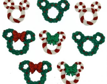 Holiday Disney Buttons 8pc Mickey and Minnie Candy Cane and Wreath Buttons
