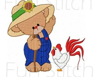 set of 10 farmer bears and roosters blocks machine embroidery design