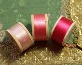3 vintage pure silk buttonhole twist thread spools  pink  shade Talon coats 10 yards each  lush warm shade