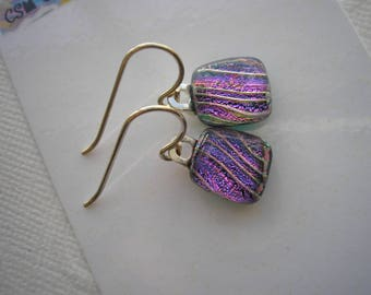 "Dichroic Earrings Petite Purple Violet Diagonal Stripe .925 Sterling Silver Under 1"" Long Dangles Iridescent Home Crafted Jewelry Fuschia"