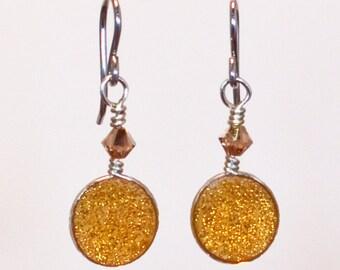 Amber Glass Dangle Earrings on Sterling silver hooks, fall and winter ready earrings
