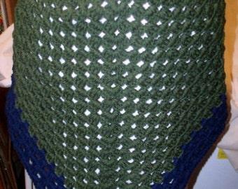 Crochet Half-Granny Square Triangle Shawl, Wrap (SHW-12)