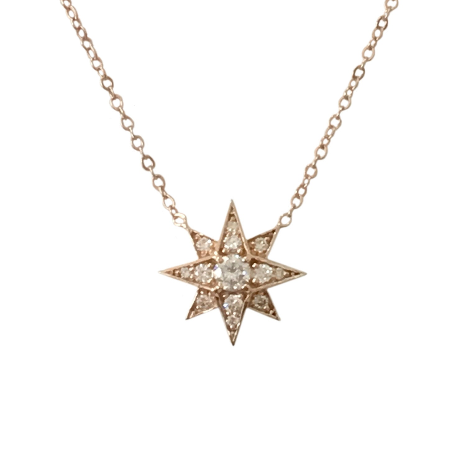 Pavé Diamond Starburst 14K Solid Gold Polaris Star Size