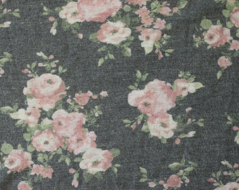 Charcoal Pink and Green Floral French Terry Knit Sweatshirt Fabric, 1 Yard