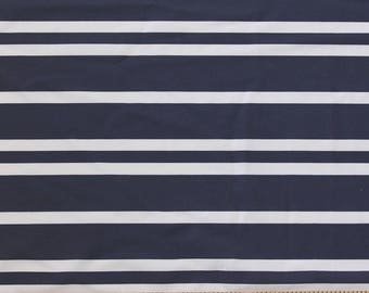 Navy and White Nautical Stripe 4 Way Stretch MATTE SWIM Knit Fabric, Modern Maritime By Corinne Wells for Club Fabrics, 1 Yard