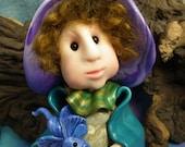 "Dragon Whisperer Gnome 'Pandoran' with two dragon Babies 5+1/2"" OOAK Sculpt by Sculpture Artist Ann Galvin Art Doll"