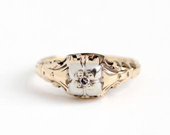 Vintage 10k Rosy Yellow & White Gold Single Cut Diamond Ring - Size 4 1/2 Art Deco Two Tone 1930s Engagement Promise Dainty Fine Jewelry