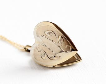 Vintage 12k Rosy Yellow Gold Filled Heart Locket Pendant Necklace - Retro 1960s Mid Century Leaf Embossed Romantic Love Charm Jewelry