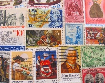 Steampunk Revolution 50 Vintage Postage Stamps 18th Century 1700s Scrapbooking Belle Epoche Colonial Renaissance Wigs US Worldwide Philately