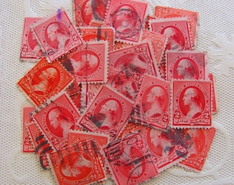 Red Letter Day 50 Vintage George Washington 2cent Carmine Postage Stamps Red 1890s 18th Century Colonial President Valentine Love Philately