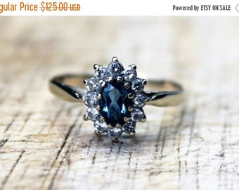 SALE10 Vintage Ladies Aquamarine Cubic Zirconia Cluster Engagement Ring | FREE SHIPPING | Size O.5 / 7.5