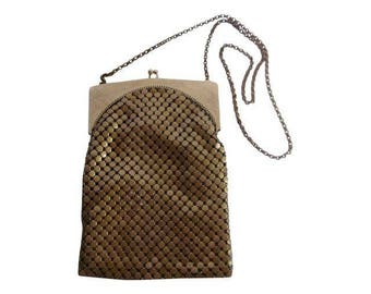 Whiting Davis duramesh dura mesh  gold tone or bronze tone large mesh chain vintage antique Evening Flapper Purse