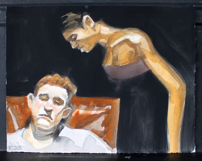 Matthew and Angel, watercolor and crayon on 11x14 inch cotton paper by Kenney Mencher