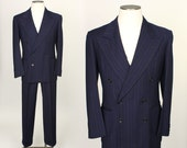 vintage 1940s suit • mens NAVY BLUE wool pinstripe suit