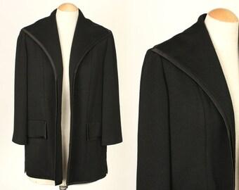 vintage LILLI ANN jacket • elegant black wool 1950s short swing coat