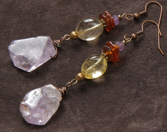 Amethyst Twilight earrings: wire wrapped ametrine slabs, amethyst, citrine, amber, copper, brass