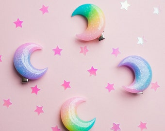 Moon Hair Clip Sparkly Resin Hair accessory kawaii lolita pastel goth luna