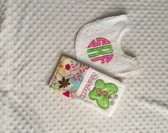 Baby Girl Personalized 2 Piece Gift Set  - Bib and Burp Cloth-Pink Green Modern Floral