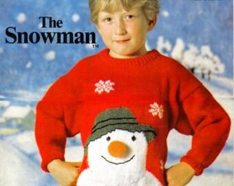 The Snowman Sweater  Raymond Briggs Motif Childrens Sweater Vintage Knitting Pattern