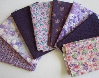 8 Assorted Purples Cotton Fabric Scraps, Fat Sixteenths, Stash Builder, Destash, Quilting, Sewing Set 2