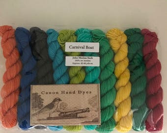 Carnival Boat... 10 Color, 10g Mini Skein Set, Canon Hand Dyes John Fingering Yarn