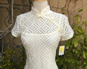 SALE 35% OFF Vintage 1980s New old stock Cream sheer cheongsam wiggle Chinese mandarin collar cocktail dress size S