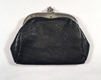 Black Leather Coin Purse Silver Kiss Lock Two Compartments
