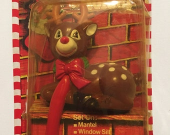 Vintage Stocking Holder Red Nose Reindeer Christmas 1980s New Old Stock