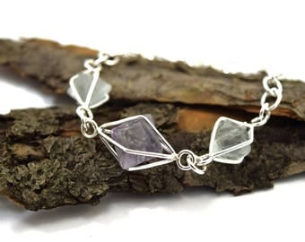 Geometric Fluorite Bracelet in Sterling Silver - Gemstone Cage Bracelet - Pastel Stone Jewelry - Small to Medium Adjustable Bracelet