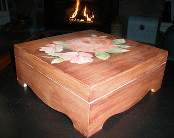 Faux Marquetry Rose Box