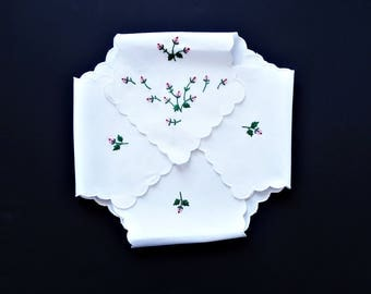 Vintage Linen Bread Basket Liner/ Hand Embroidered / Scroll Edge/ Pink Rosebuds/ Bridal Tea/ Victorian