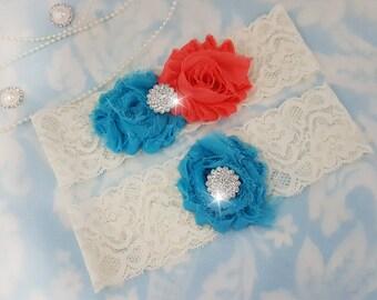 Coral and Blue Wedding Garter Set - Bridal Garter - Ivory Lace Garter - crystal garter set - Turquoise Wedding Garter - coral and turquoise