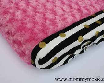 Black White Stripes Gold Dots Hot Pink Rosette Minky Changing Pad Cover- for Your Trendy Modern Chic Nursery - by Mommy Moxie on Etsy