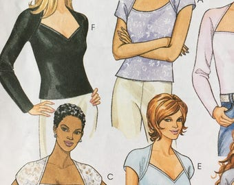 Stretch Knit Top Sewing Pattern McCalls 2254 Size 12 14 Raglan Sleeve V Neck Round Neck UNCUT