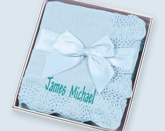"""Personalized Light Blue Vintage Inspired Crocheted Baby Blanket 30"""" x 40"""" Gift Boxed"""