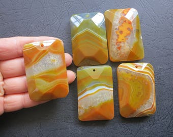 Close Out- AS PICTURED- 5pcs Large Brownish Orange Druzy Agate Rectangle Pendant 35x55mm- top drilled