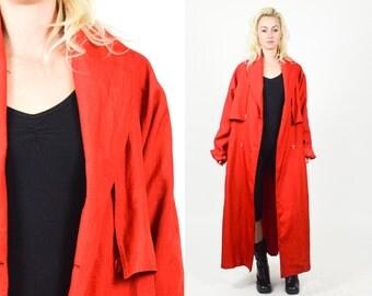 90's RED TRENCH WINDBREAKER Jacket. Long Sleeves, Belted with Pockets. 80's 90's Vintage Windbreaker. Mod Minimalist . Size M