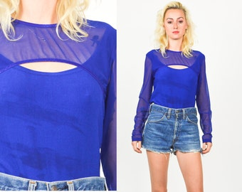 1990's CUTOUT SHEER MESH Blouse. Electric Blue. Long Sleeve. 90's Vintage Grunge Mod Size Small/Medium