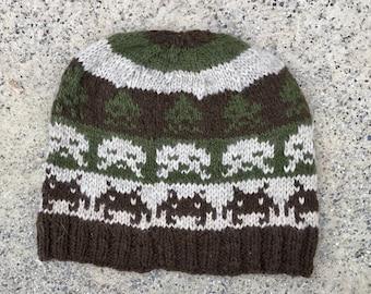 Wool Hat: Space Invaders in Olive, Brown, Beige
