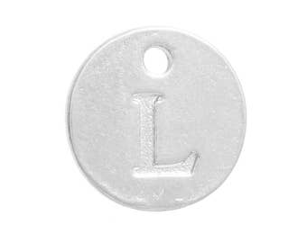 Letter L Silver Plated Alphabet Charm 12mm