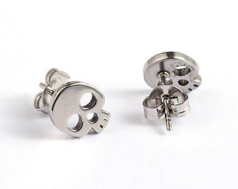 Skull Stud Earrings Stainless Steel Setting As Seen On Jane.com