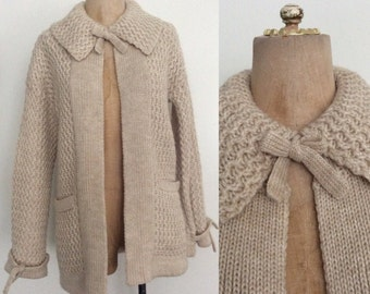 1970's Jantzen Wool Blend Knit Cardigan with Ties Size Small Medium by Maeberry Vintage