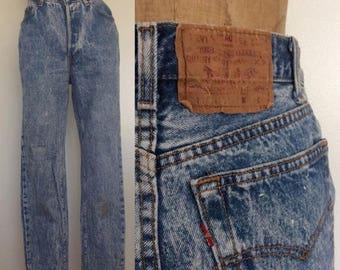 30% OFF 1980's Acidwash Vintage Levi's w/ Button Fly Vintage Denim Pants Size 27 28 Medium by Maeberry Vintage