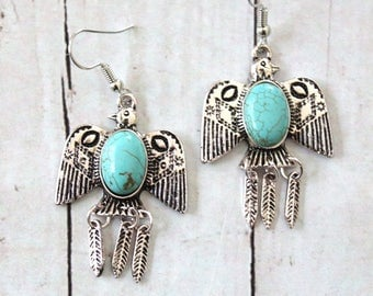 EAGLE FLY- Thunderbird Southwestern style Native American Inspired Howlite Turquoise & Silver plated drop dangling Earrings by Inali