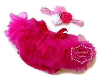 Hot Pink Tutu Bloomer and Shabby Chic Mini Triple Rose Headband, All Around Bloomer Skirt, Chiffon Ruffle Bloomer Tutu, Baby Photo Prop Set