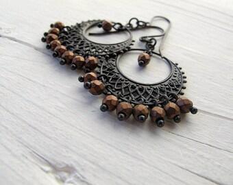 Black Bohemian Chandelier Earrings,  Hippie Chic Dangle Earrings, Czech Glass Jewelry, Round Filigree Chandelier Earrings