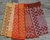 Destash! Bundle of Macaron pattern screen printed Karen Lewis half panels in orange, brown and yellow