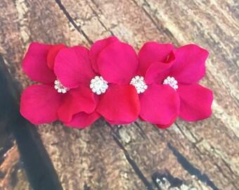 Fuschia girls flower hair clip, girls fuschia french barrette clip, fuschia hair clip, fuschia wedding, fuschia flower girl hair clip