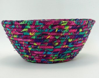 Round Coiled Fabric Basket: Colors of the Tropics...Decorative and Functional